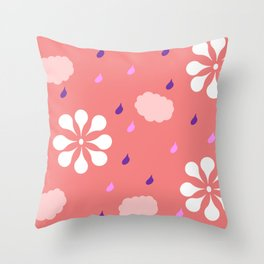 Pastel pink flowers and rain Throw Pillow