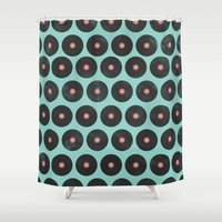 records Shower Curtains featuring Vinyl Records Pattern by Allyson Johnson