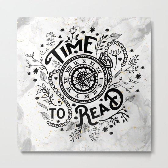 Time to Read - Black Metal Print