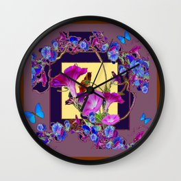 Puce Purple Morning Glories Butterfly Patterns Brown Art Wall Clock