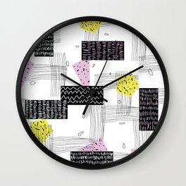 Geometric Black Yellow Pink Shapes Wall Clock