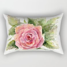 Red Rose Watercolor Pink Rose Flower Floral Art Rectangular Pillow