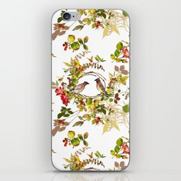 Pink Roses & Birds on a Branch iPhone Skin