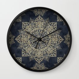 Elegant poinsettia flower and snowflakes mandala art Wall Clock
