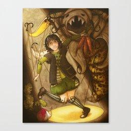Puppet and banana Canvas Print