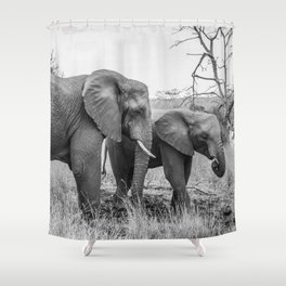Grazing Elephants Shower Curtain