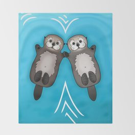 Otters Holding Hands - Otter Couple Throw Blanket