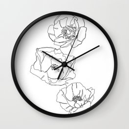 Botanical illustration line drawing - Poppies Wall Clock