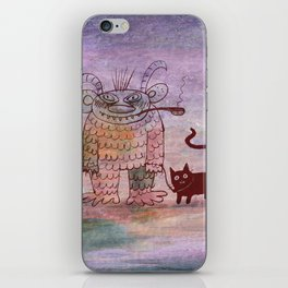 evil sorcerer with his cat iPhone Skin