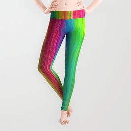 Rainbow Abstract Iridescent Painting - Neon Bright Leggings