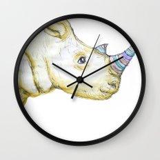 Striped Rhino Illustration Wall Clock