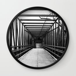 Bridge to Nowhere Black and White Photography Wall Clock
