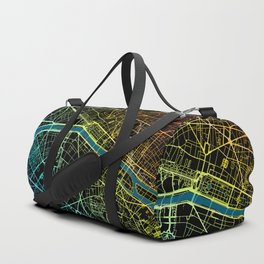 Colourful Road Map of Paris, France Duffle Bag