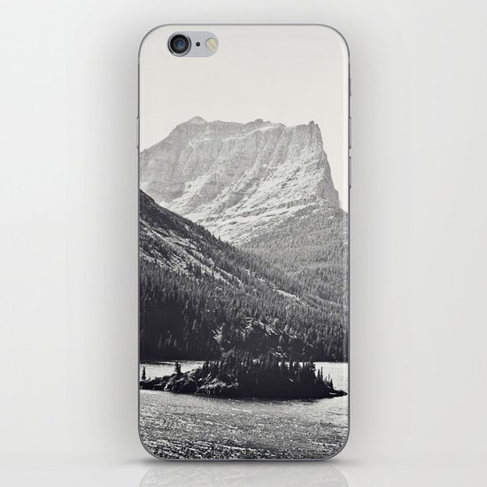 Glacier Mountain Lake Black and White iPhone & iPod Skin