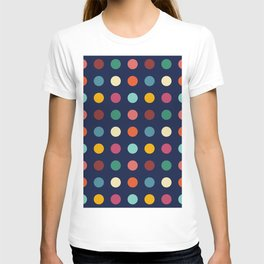 Teithi - Multicolor Dots on Dark Blue T-shirt