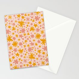 Cute Pattern with Stars, Flowers, Polka Dots and Hearts - Floral Illustration Stationery Cards