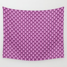 Gleaming Pink Metal Scalloped Scale Pattern Wall Tapestry