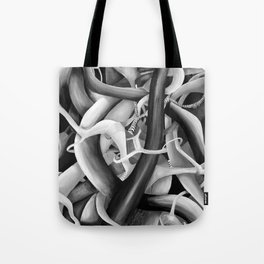 Black and White Pop Art Modern Abstract in Vintage Retro Theme Tote Bag