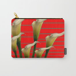 Chinese Red Striped Calla Lily Art Carry-All Pouch