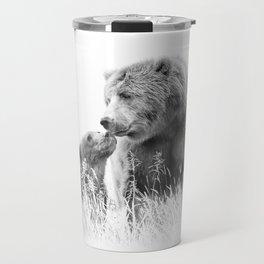 Grizzly Bear And Cub - B&W Wildlife Photography Travel Mug
