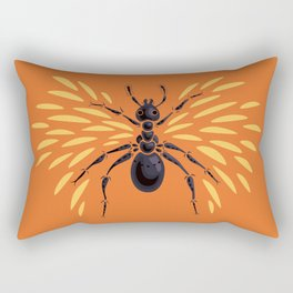 Winged Ant Fiery Orange Rectangular Pillow