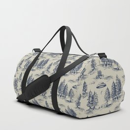 Alien Abduction Toile De Jouy Pattern in Blue Duffle Bag
