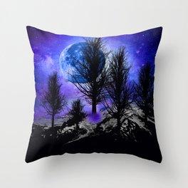 NEBULA STARS MOON BLACK TREES MOUNTAINS VIOLET BLUE Throw Pillow