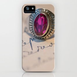 Silver ring with pink gem iPhone Case