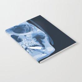 Skull Smoking Cigarette Blue Notebook