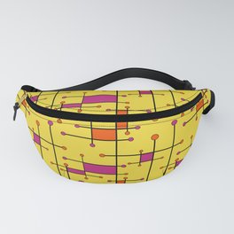 Intersecting Lines in Orange, Hot Pink on Yellow Fanny Pack