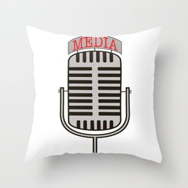 """Media"", an old fashioned microphone illustrated graphic.  Throw Pillow"