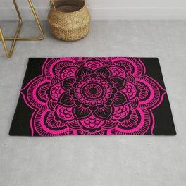 Mandala Flower Pink & Black Rug