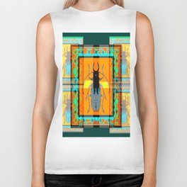 WESTERN TEAL TURQUOISE BEETLE ORANGE ART DESIGN Biker Tank