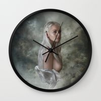 mother of dragons Wall Clocks featuring Mother of Dragons by Flo Tucci