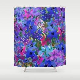 Cool Blue Summer Garden Shower Curtain