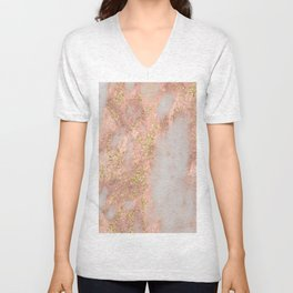 Rose Gold Marble with Yellow Gold Glitter Unisex V-Neck