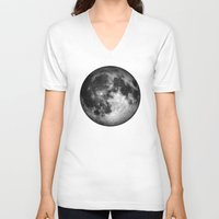 the moon V-neck T-shirts featuring moon by Tudor