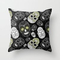 sugar skulls Throw Pillows featuring Sugar Skulls by Zen and Chic