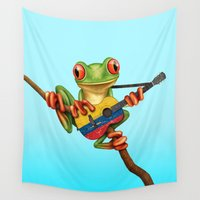 colombia Wall Tapestries featuring Tree Frog Playing Acoustic Guitar with Flag of Colombia by Jeff Bartels