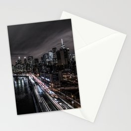 Downtown Manhattan. FDR drive long exposure. Stationery Cards