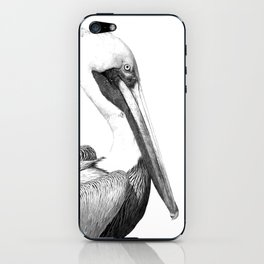 Black and White Pelican iPhone Skin