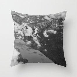 Aerial Alaska - B & W Throw Pillow