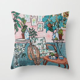 Rattan Chair in Jungle Room Throw Pillow