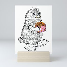 Little Monster bringing cookies Mini Art Print