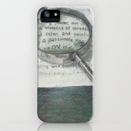 'The Testy Text' Magnifying Glass Wording in Book Literature Green and White iPhone Case