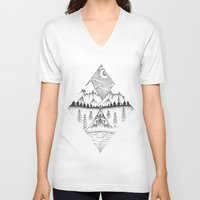 camping V-neck T-shirts featuring Mountain Camping by whatkatydoes