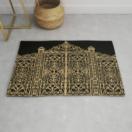 French Wrought Iron Gate | Louis XV Style | Ornate Ironwork | Black and Gold | Rug