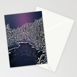 Winter river in Lapland Finland  Stationery Cards