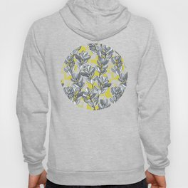 Leaf and Berry Sketch Pattern in Mustard and Ash Hoody
