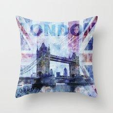 London Tower Bridge mixed media Art and Typography Throw Pillow